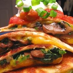 Spinach and Mushroom Quesadillas recipe