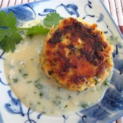 Asian Salmon Cakes with Creamy Miso and Sake Sauce recipe