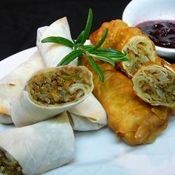 Leftover Turkey Spring Rolls with Cranberry Sweet and Sour Dipping Sauce recipe