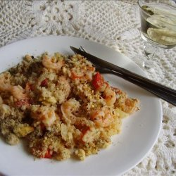 Greek Rice and Shrimp Bake With Feta Crumb Topping recipe