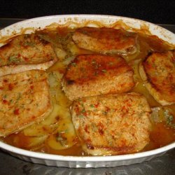 Pork Chops With Scalloped Potatoes and Onions recipe