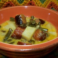 Cheesy Brat Stew for the Slow Cooker recipe