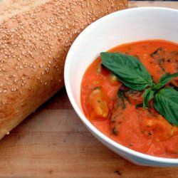 Roasted Red Pepper & Tomato Soup With Spinach Gnocchi recipe