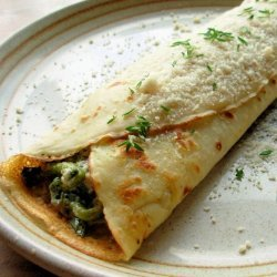 Savory Mushroom, Spinach & Cheese Crepes recipe