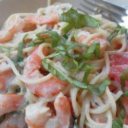 Shrimp and Pasta in a Basil  Cream Sauce recipe