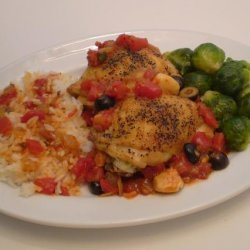 Chicken thighs with olives and basil recipe
