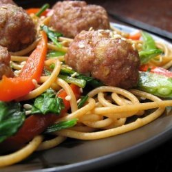 My Version of Rachael Ray's Chinese Spaghetti and Meatballs recipe