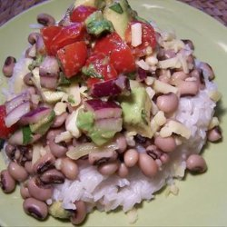 Black Eyed Peas with Coconut Rice and Avocado Salsa recipe