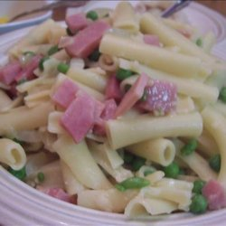 Pasta with Mushrooms, Ham and Peas recipe