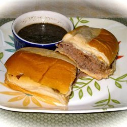 Roast Beef Dip Sandwich With Herbed Garlic Au Jus recipe