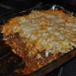 Cheesy Layered Ground Beef and Pasta Casserole recipe