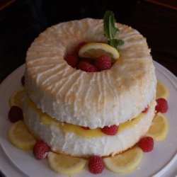 Lemon Angel Food Cake Filled With Lemon Curd and Fresh Raspberry recipe