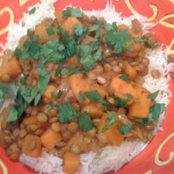 Sweet Potato and Lentil Curry With Rice recipe