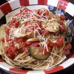 Spaghetti With Tomato, Chilli, Mushroom, Zucchini & Garlic recipe