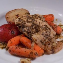 Crock Pot Pesto Ranch Chicken and Veggies #RSC recipe