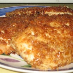 Pretzel Crusted Chicken Breast With Cheddar Cheesy Mustard Sauce recipe