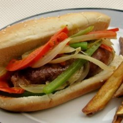 Dom's Sausages With Peppers and Onions recipe