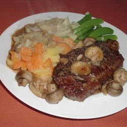 Pan Fried Steak with Mustard-Pepper Sauce recipe