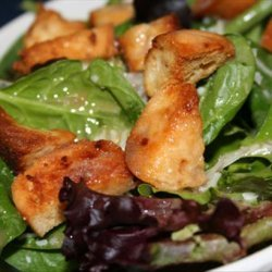 Caesar Salad With Onion Bagel Croutons recipe