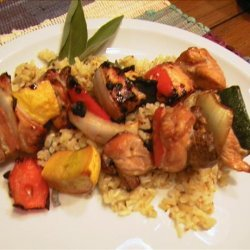 Grilled Chicken and Veggie Kabobs Atop Sage Rice recipe