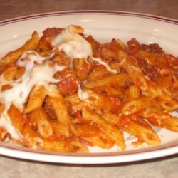 Baked Penne With Ground Beef and Tomato Sauce recipe