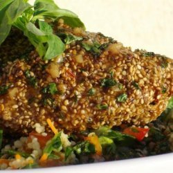 Sesame Encrusted Chicken Breasts With Ginger-soy Sauce recipe