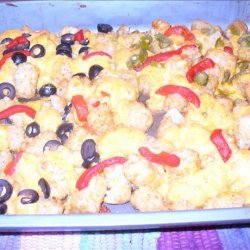 Taco Tots With Cheese, Peppers & Olives recipe