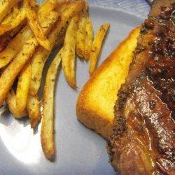 French Bistro Steak on Garlic Croutes and Potato Frites recipe
