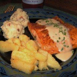 Broiled Salmon With Garlic Sauce recipe
