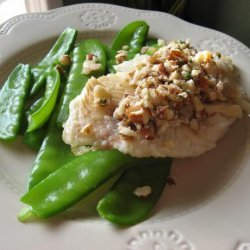 Pan Seared Tilapia With Almond Browned Butter and Snow Peas recipe