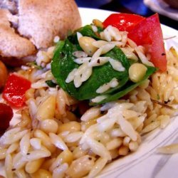 Elegant Orzo With Wilted Spinach, Feta and Pine Nuts recipe
