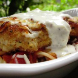 Baked Chicken Parmesan over Pasta recipe
