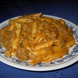 Penne With Cheesy Meat Sauce recipe