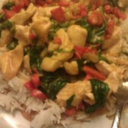 Peanut chicken over rice recipe