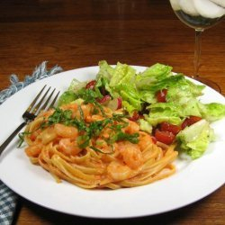 Shrimp With Roasted Red Pepper Cream recipe