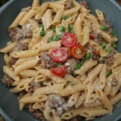 Penne With Sausage, Peas and Mascarpone recipe