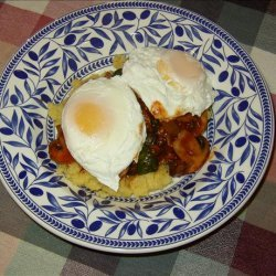 Polenta and Poached Eggs With Spinach and Mushrooms recipe