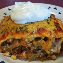 Beefy Layered Burrito Casserole recipe