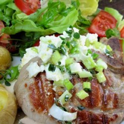 Oregano Lamb Steaks With Lemon, Olive Oil and Feta Cheese Mash recipe