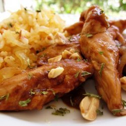 Sriracha-Glazed Chicken and Onions over Long-Grain Rice recipe