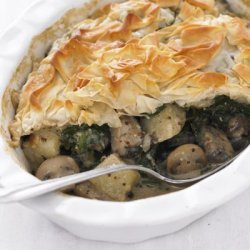 Easy Cheddar Spinach and  Mushroom Pie With Puff Pastry Crust recipe