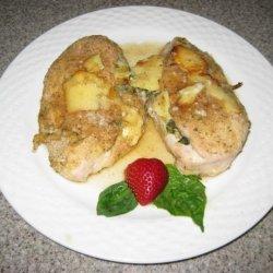 Baked Garlic, Basil and Camembert Stuffed Chicken Breasts recipe
