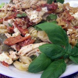 Chicken, Roasted Capsicum, Feta and Walnut Pasta Salad recipe