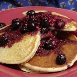 Cornmeal Pancakes With Blueberry Maple Syrup recipe