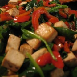 Penne With Roasted Tofu, Peppers and Spinach in Garlic Sauce recipe