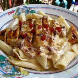 Pasta With Chicken and Roasted Red Pepper Cream Sauce recipe
