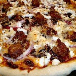 Auberge Chorizo, Goat's Cheese and Onion Pizza - Thin Crust recipe