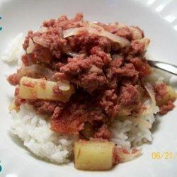 Filipino Corned Beef Hash over Rice recipe