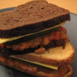 Baked Beans, Cheddar and Pickle Sandwich recipe