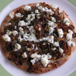 Grilled Pitas With Caramelized Onions and Goat Cheese recipe